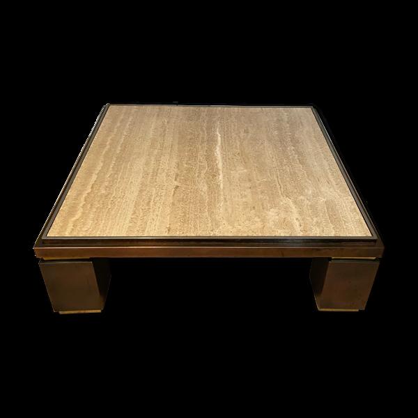 Table basse carrée XXL cuivre laiton et travertin, Belgo Chrom