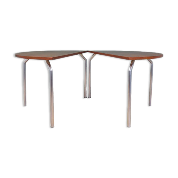 Selency Demi-table ronde en teck design danois années 1970 fabricant: Bent Krogh