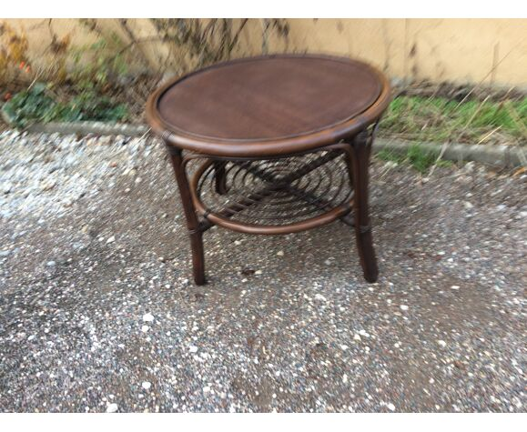 Table basse ronde bambou et rotin