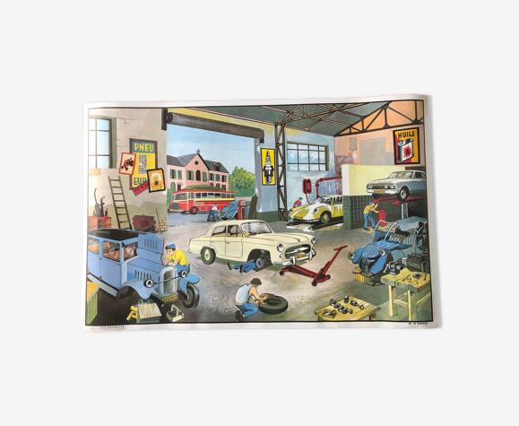 Affiche scolaire oge Hachette garage/piscine