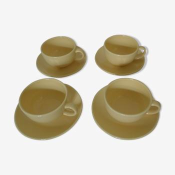 Set de 4 tasses et soucoupes ceramique jaune pale