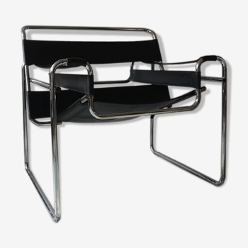 Black leather armchair Wassily by Marcel Breuer, 1970