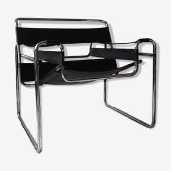 Fauteuil cuir noir Wassily par Marcel Breuer, 1970
