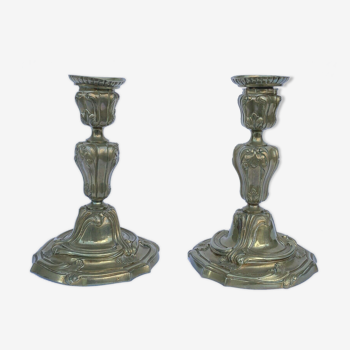 Petite paire de bougeoirs Napoleon lll de stye Louis XlV 19eme
