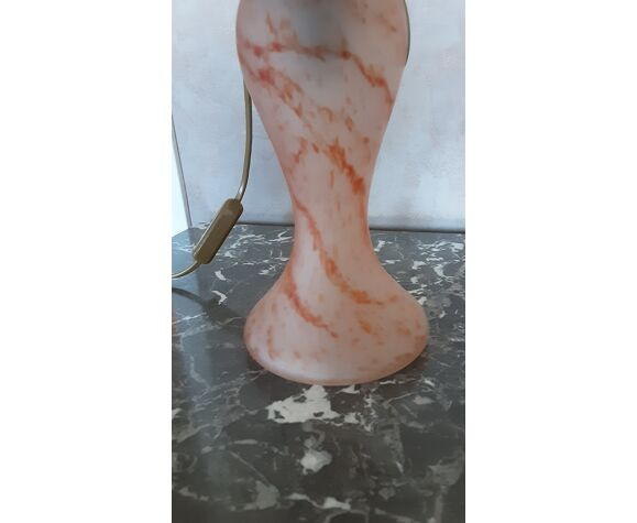 Pied de lampe pâte de verre orangé