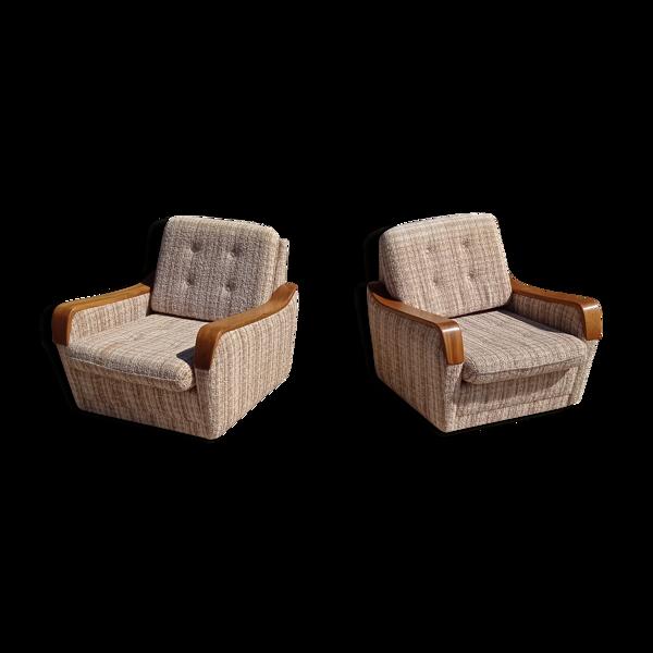 Paire de fauteuils vintage en bois et tissu