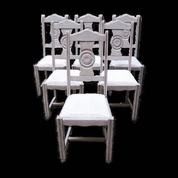 Selency Ensemble de 6 anciennes chaises de salle à manger relookées