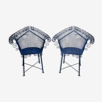 Paire de fauteuils de jardin en métal