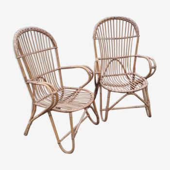 Pair of vintage rattan armchairs