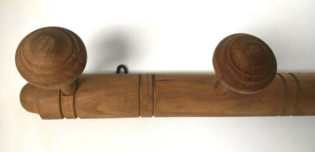 Porte manteaux bois 4 patères vintage