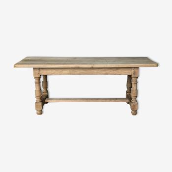 Table de ferme en chêne délavé
