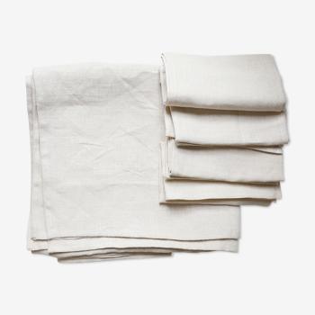 Nappe et serviettes en lin upcyclées beiges unies