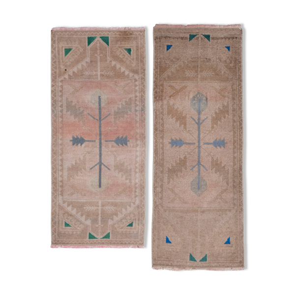 Set of Two Distressed Small Turkish Rug 44 x 114 - 46 x 101 cm