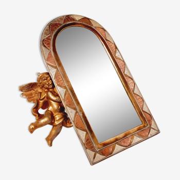 Miroir laiton cuivré vintage 17x31cm
