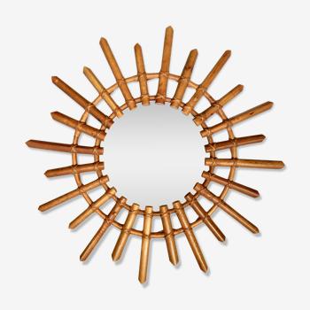 Miroir soleil rotin 58 cm années 60