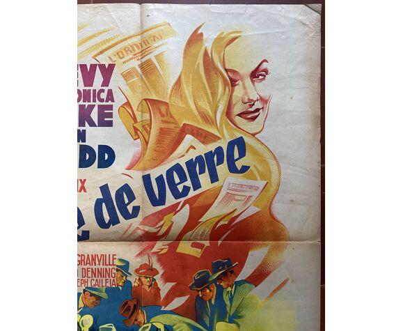 """Affiche cinéma """"La Clé de verre"""" Veronica Lake, Alan Ladd 60x80cm 1942"""
