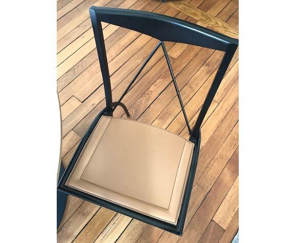 Chaise pliante Ligne Roset Cattelan Italia métal et cuir