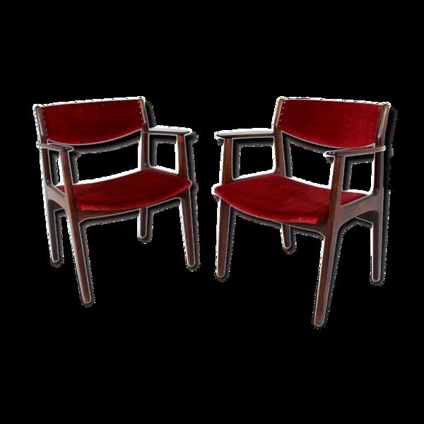 Paire de fauteuils en palissandre, Henning Kjaernulf pour Sorø Stolefabrik, Danemark, 1960