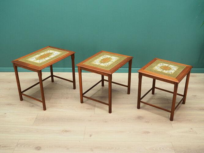 Set of three teak nesting tables, Danish design, 60