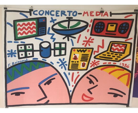 Boisrond françois, concerto media, 1986. affiche lithographie