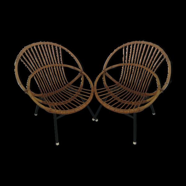 Duo de fauteuils corbeille en rotin
