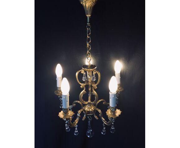 Lustre cage à 5 lumières cristal et bronze