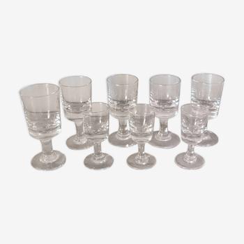 Set de 8 verres trompeurs bistrot anciens