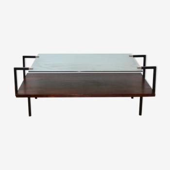 Table basse moderniste en verre et palissandre 1950