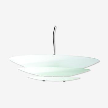 Lustre 3 lumières verre opalin chandelier années 50