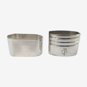2 ronds de serviette en metal argenté