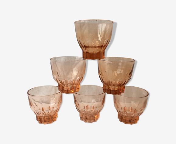 Set de 5 verres vintage transparents roses