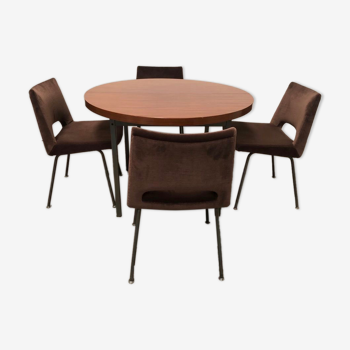 Ensemble table de salle à manger ronde  et 4 chaises  Georges Frydman éditée par E.F.A 1965.