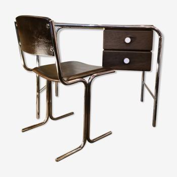 Bureau et chaise tubulaires années 60/70