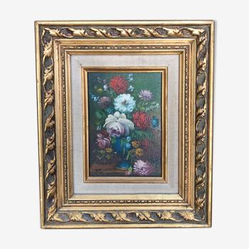 Peinture à l'huile nature morte au bouquet signée Mayers - Beau cadre
