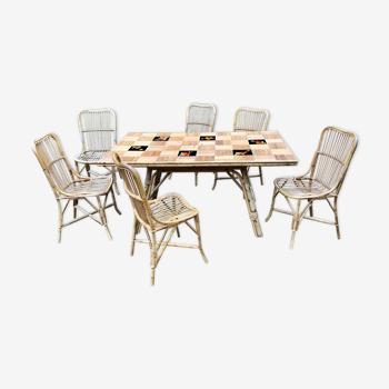 Lot tables 6 chaises en bambou et céramique
