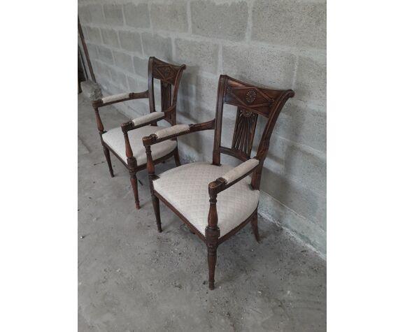 Paire de fauteuils directoire