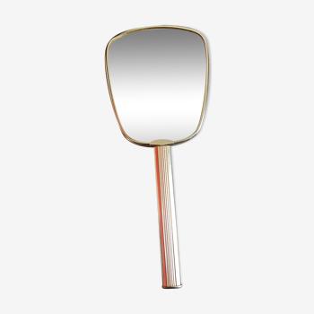 Miroir a main ancien vintage des années 60 en mÉtal doré manche a rainures, mÉdaillon dans le dos