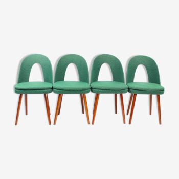 Lot de 4 chaises Tatra en tissu vert, Antonin Suman, Tchécoslovaquie, années 1960