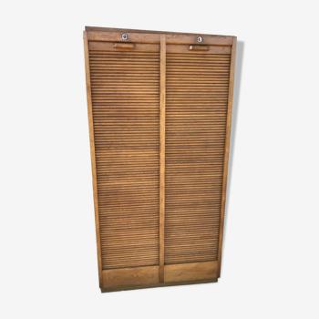 Meuble classeur de notaire à rideaux chêne massif restauré