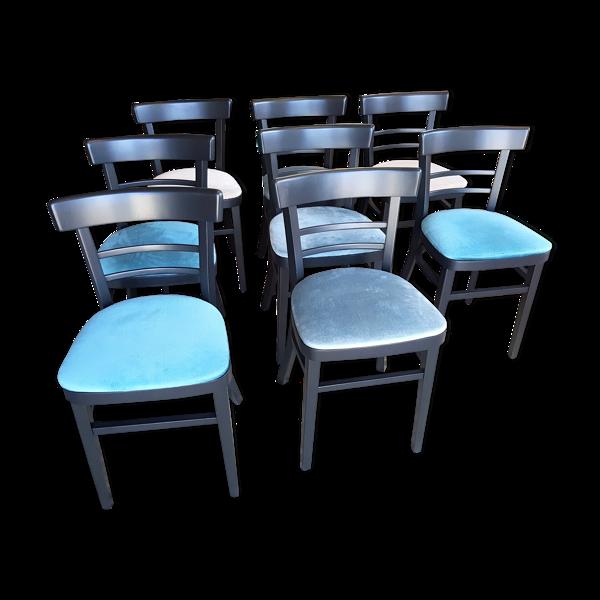 Série de 8 chaises d'hotel relookées