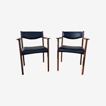 Paire de fauteuils scandinave en palissandre par Sax circa 60