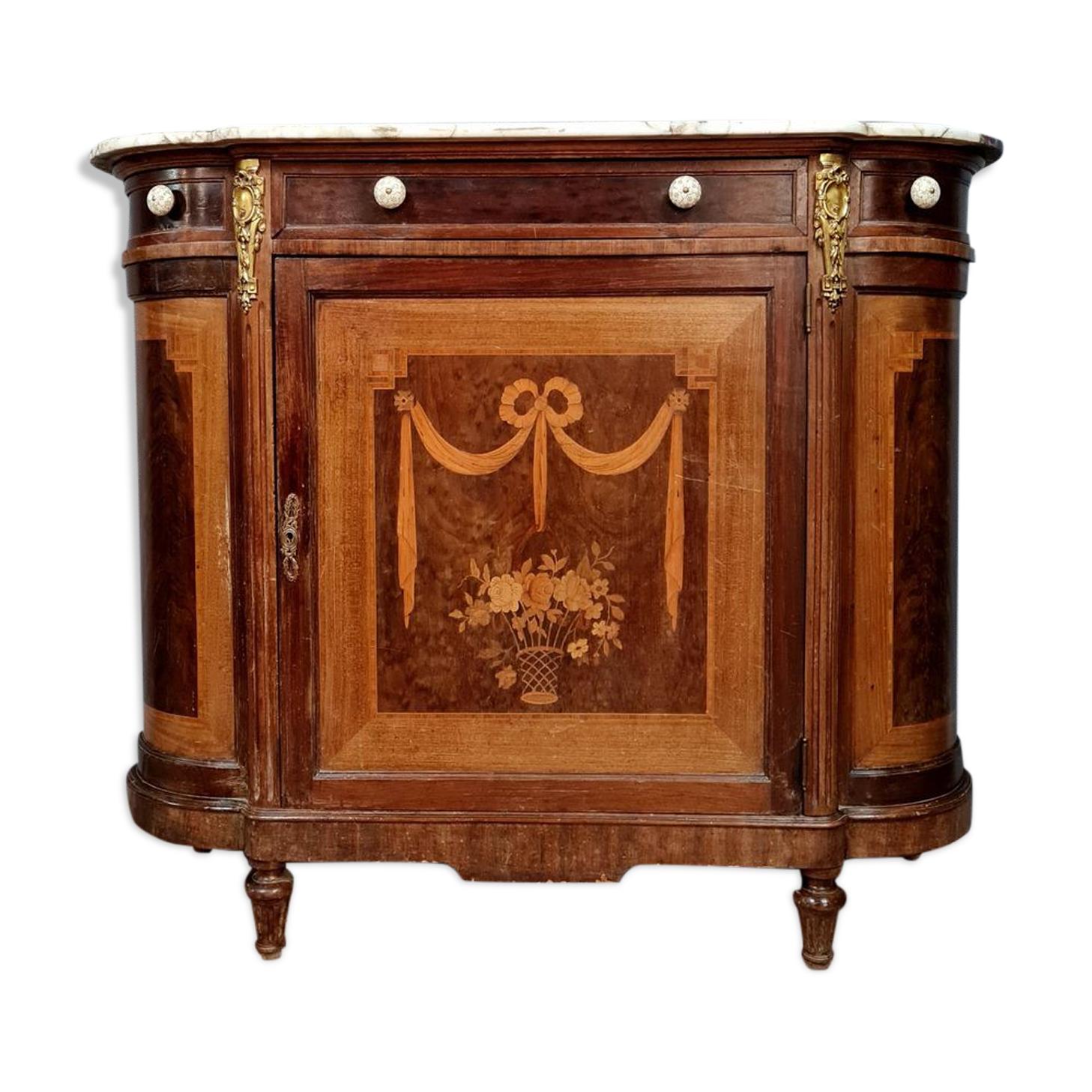 buffet Louis XVI de forme demi-lune à ressaut en marqueterie de bois précieux