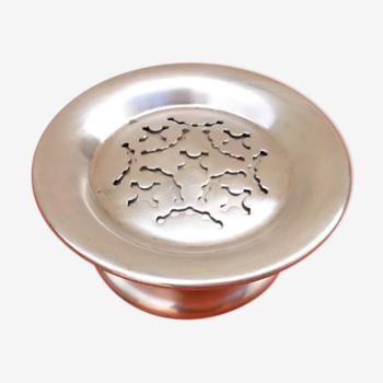 Art culinaire années 50  beurrier moule à beurre coquillor  métal argenté