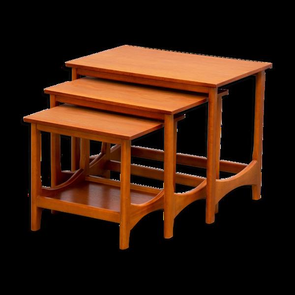 Tables basse gigogne scandinave en teck