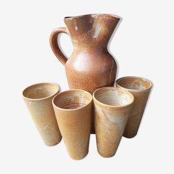 Sandstone service pitcher 4 glasses