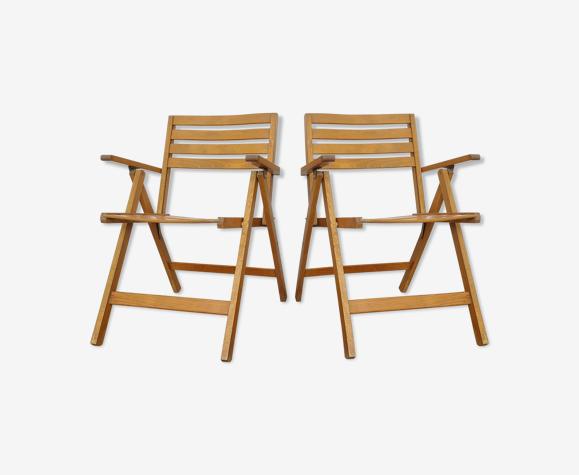 Paire de chaises pliantes bois