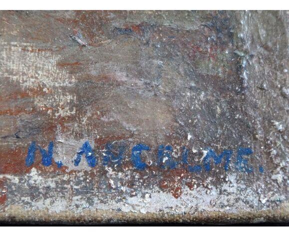 Huile sur toile dame assise dans ruelle Narcisse Ancelme (1872-1938) Art Lorrain alsace 46x38cm