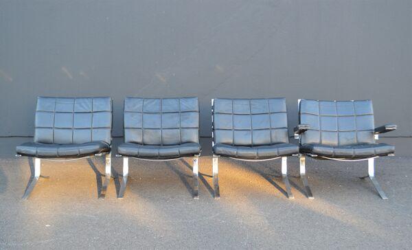 Set de 4 fauteuils chauffeuse Joker de Olivier Morgue vintage des années 50/60