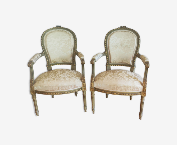 Pair of gilded wood armchairs Louis XVI style