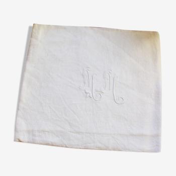 Serviette de table damassé blanc monogrammes fleuris MM